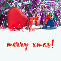 Merry xmas card with red heart, jingle bells and ribbons. White background Royalty Free Stock Photo
