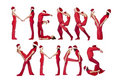 Merry Xmas formed by humans Royalty Free Stock Photos
