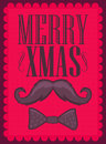 Merry xmas moustache and bowtie vector card Royalty Free Stock Photo