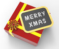 Merry xmas present shows christmas festivity celebrations and greetings Stock Image