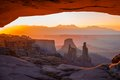 Mesa arch canyonlands national park utah usa sunrise through Royalty Free Stock Image