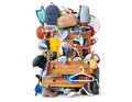 Mess dresser with scattered clothes shoes and other things Stock Photo