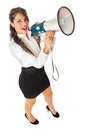Message for all the employees a pretty business woman with a megaphone over a white background Stock Photos