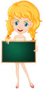 Message board illustration of a cartoon character holding a blank Royalty Free Stock Images