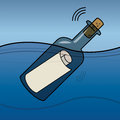 Message in a bottle abstract color illustration Royalty Free Stock Photography