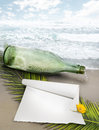 Message bottle and ocean a with beads a blank piece of paper waiting to be thrown into the to carry a Stock Photos