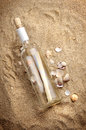 Message in bottle on sand Royalty Free Stock Photo