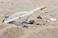 Message in a bottle on the sandy beach Royalty Free Stock Photography