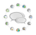 Message bubble and tools settings illustration design over white Royalty Free Stock Images