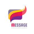 Message - creative vector background illustration. Communication colorful logo template. Speech bubble abstract sign. Social media Royalty Free Stock Photo