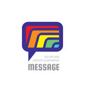 Message - creative vector background illustration. Communication colorful logo template. Speech bubble abstract sign. Social media