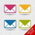Message Envelope Icons For Apps And Websites - Colorful Vector Illustration