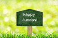 Message happy sunday green sign board with natural background and Stock Photo