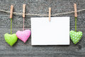 Message and hearts on the clothesline Royalty Free Stock Images