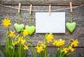 Message and hearts on the clothesline against wooden background Stock Photos