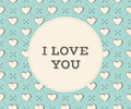 Message I Love You in circle on a seamless pattern with heart and arrows in vintage style engraving for Valentine's Day. Royalty Free Stock Photo