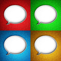 Message icon speech bubble set of icons on a colorful leather background hi res digitally generated image Stock Photos