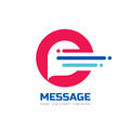 Message - vector logo template concept illustration. Speech bubble creative sign. Internet chat icon. Abstract geometric design. Royalty Free Stock Photo