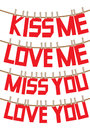 Messages of love and valentines on the clothesline text hanging vector illustration Royalty Free Stock Photos