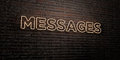 MESSAGES -Realistic Neon Sign on Brick Wall background - 3D rendered royalty free stock image
