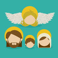 Messenger angel over blue background vector illustration Royalty Free Stock Image