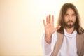 Messiah raising palm of hand Royalty Free Stock Photo