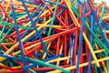 Messy arragement of plastic straws Stock Image