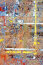 Messy background of and colorful remains of torn paper and glued tape Stock Images