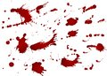 Messy blood blot, red drops on white background. Vector illustration, maniac style. Big splashes Royalty Free Stock Photo
