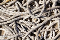 Messy braided ropes of fishing tackle Royalty Free Stock Image