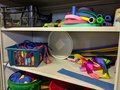 A messy disorganised storage cupboard Royalty Free Stock Photo
