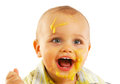 Messy faced baby after eating Royalty Free Stock Photo