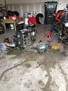 Messy garage taking my cbr motor Royalty Free Stock Photos