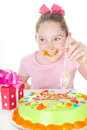 Messy icing on birthday Stock Images