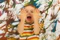 Messy kid screaming Royalty Free Stock Photo
