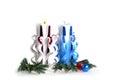 Met de hand gemaakte kerstmiskaarsen Royalty-vrije Stock Foto's