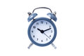 Metal Alarm clock work time on white background 10 am Royalty Free Stock Photo