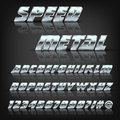 Metal alphabet and symbols with reflection and shadow. Font for design.