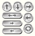 Metal arrow buttons a set of shiny metallic Royalty Free Stock Photography