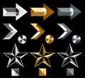 Metal arrow symbol icons silver gold and star and stud Royalty Free Stock Photos