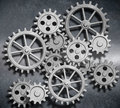 Metal background with gears and cogs 3d illustration Royalty Free Stock Photo