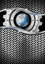 Metal background with grid gear and globe blue business Royalty Free Stock Photo