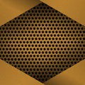 Metal Background with plate and rivets. Perforated metallic grunge texture. Brushed Brass, copper surface template Royalty Free Stock Photo