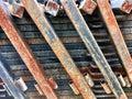 metal beams made of rusted steel