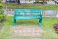 Metal bench in park bangkok thailand vachirabenjatas rot fai Royalty Free Stock Photography