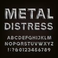 Metal Beveled Distressed Font. Vector Alphabet. Royalty Free Stock Photo