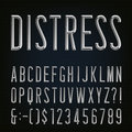 Metal Beveled Distressed Narrow Font. Vector Alphabet. Royalty Free Stock Photo