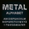 Metal Beveled Font. Vector Alphabet. Royalty Free Stock Photo