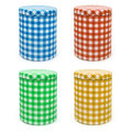 Metal box gingham printed x 4 (isolated) Stock Photo
