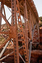 Metal bridge spans canyon Stock Images